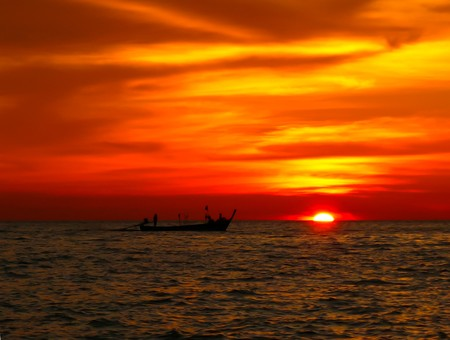 Beautiful sunset over andaman sea Stock Photo