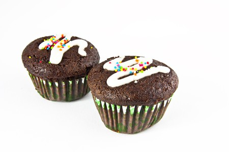 Banana cup cake isolate on white background2