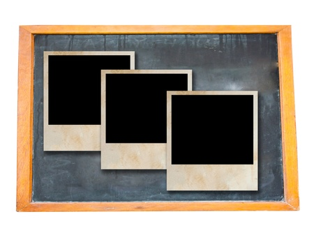 Blank old blackboard with vintage photo frame Stock Photo - 8529778