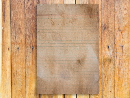 Vintage paper with  line on wood background Stock Photo - 9228568