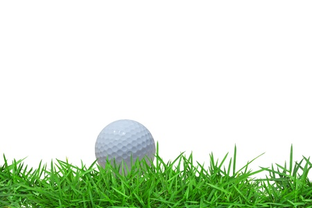 tee off: Golf ball on green grass