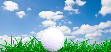 Golf ball with grass and blue sky photo