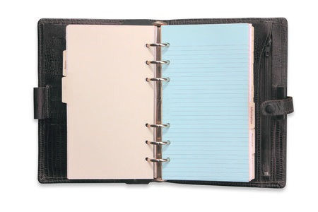 Old diary notebook open photo