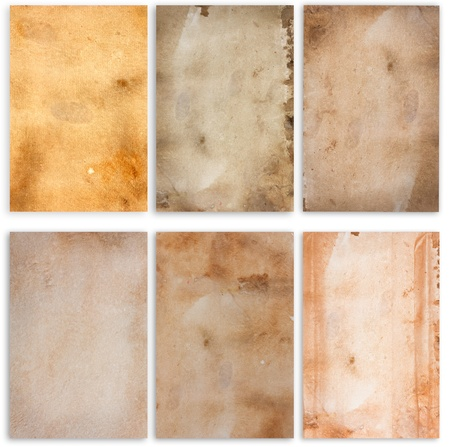 papel quemado: Conjunto de antiguas textura de papeles de grunge de fondo