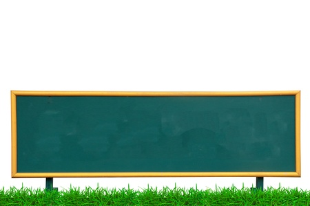 Empty chalk board on with green grass on white background