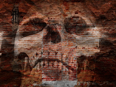 Halloween image of scary skull on grunge wall Stock Photo