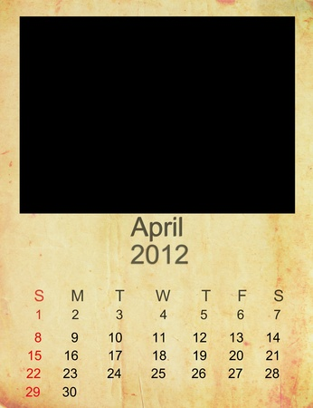 Calendar 2012, April on   Empty old photo frame.  photo