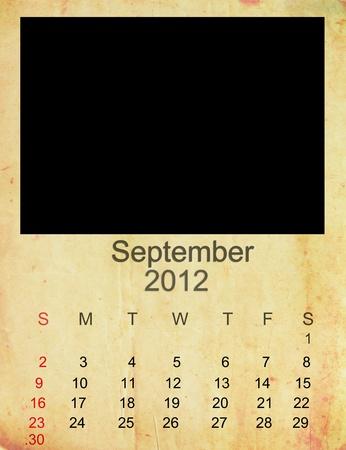 Calendar 2012, September on Empty old photo frame.  photo