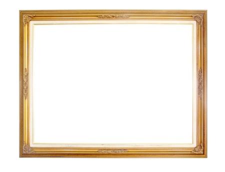 vintage photo border: Vintage wood photo frame isolate on white background