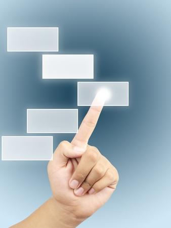 Hand press on a touchscreen button photo