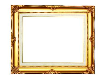 marcos decorados: Marco de Vintage fotos madera de oro sobre fondo blanco
