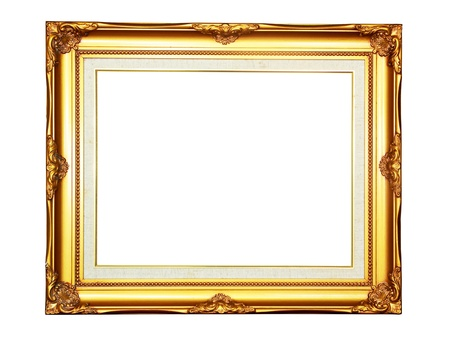 Vintage gold wood photo frame on white background