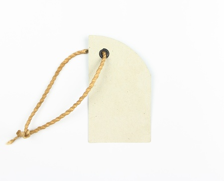 tage: Blank paper tage on white background