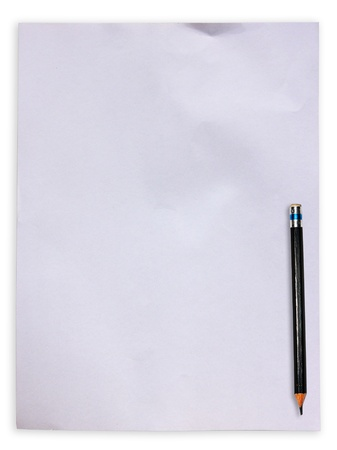 White paper with pencil on white background photo
