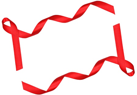 red x: Red ribbon frame on white background