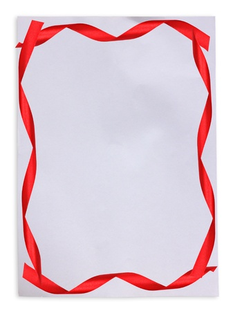 Red ribbon on White paper with space for your text photo