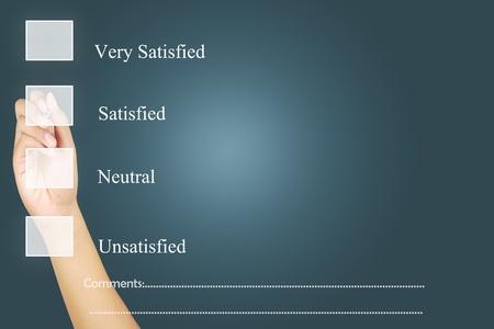 Human hand check mark Blank survey on touchscreen Stock Photo - 10874133