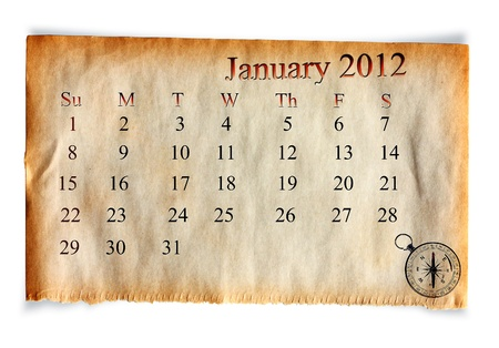 Calendar January 2012,  on Vintage old paper  background Stock Photo - 10907446
