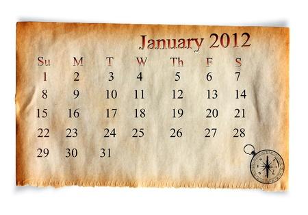 Calendar January 2012,  on Vintage old paper  background Stock Photo - 10907446