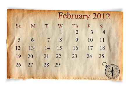 Calendar February 2012, on Vintage Old paper background photo