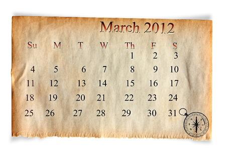 Calendar March 2012, on Vintage Old paper background photo