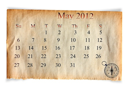Calendar 2012, May on vintage Old paper background  photo