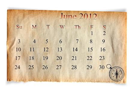 Calendar 2012, June on vintage Old paper background  photo