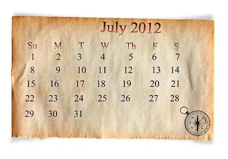 Calendar 2012, July on vintage Old paper background  photo