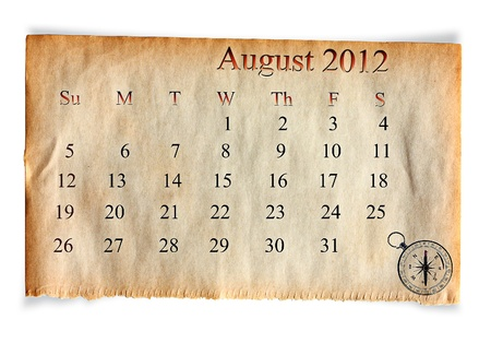 Calendar 2012, August on vintage Old paper background  Stock Photo