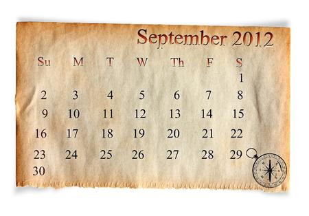 Calendar 2012, September on vintage Old paper background  photo