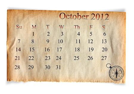 Calendar 2012, October on vintage Old paper background  photo