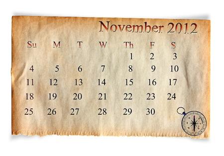 Calendar 2012, November on vintage Old paper background  photo