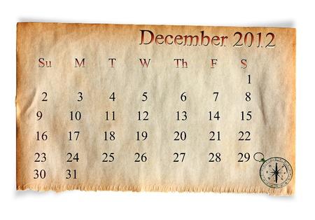 Calendar 2012, December on vintage Old paper background  photo