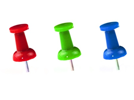 pinned: 3 Color of Pushpin on white background Stock Photo