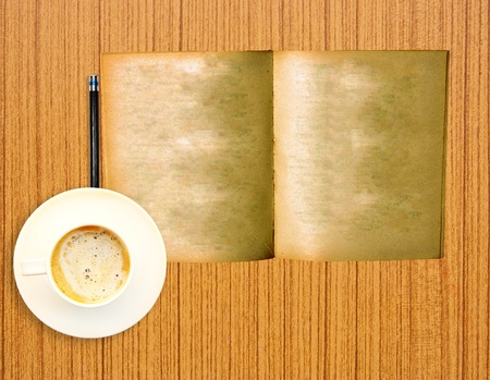 old notebook: vintage old book with coffee on wood background Stock Photo