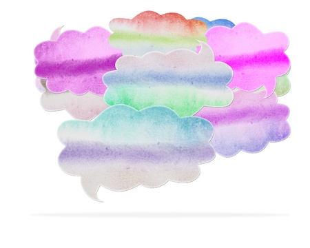 Abstract watercolor speech bubble on white background, with clipping paths  photo