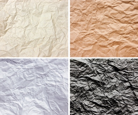 creasy: Set of Wrinkled 4 color paper texture for background
