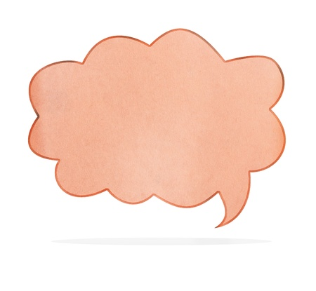 Blank Recycle paper Speech Bubble shape on white background, with clipping paths photo