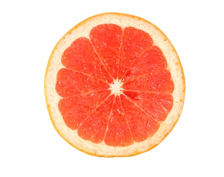 Half of grapefruit on white background