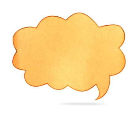 Blank  paper Speech Bubble shape on white background photo