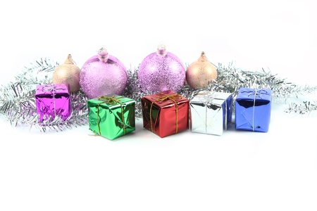 Christmas decoration with gift box on white background