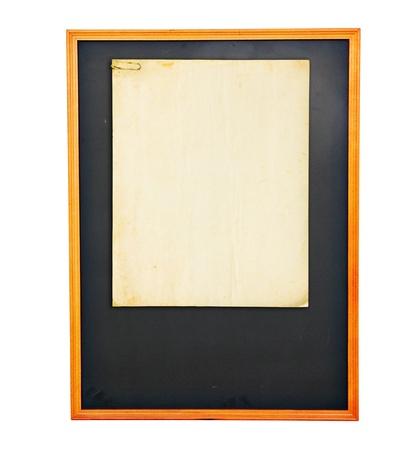 Vintage paper on  Chockboard on grunge white wall background photo