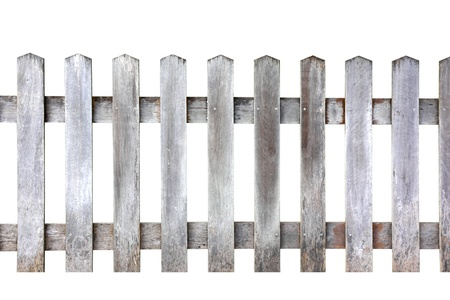 garden fence: Old wood fence on white background