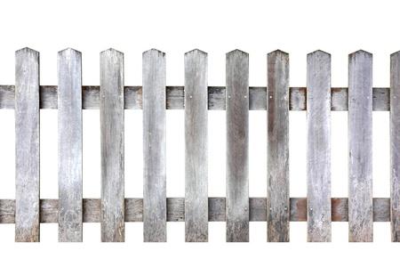 Oude houten omheining op een witte achtergrond