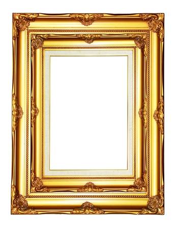 marcos decorados: Madera Vintage de oro marco de la foto sobre fondo blanco Foto de archivo
