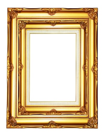 bordering: Vintage gold wood photo frame on white background
