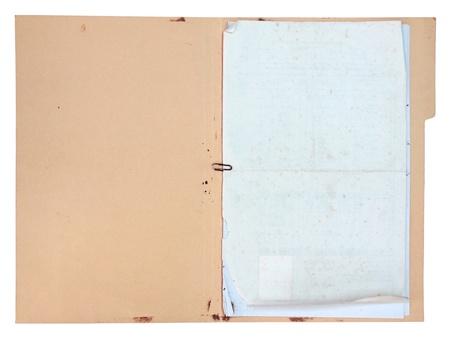 Oude doucment map op een witte achtergrond Stockfoto