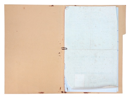 oud document: Oude doucment map op een witte achtergrond Stockfoto