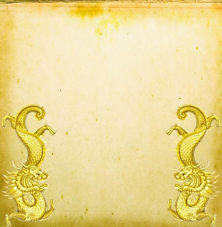 Twin dragon with Texture of old paper for background photo