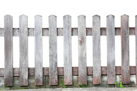 Old wood fence on white background
